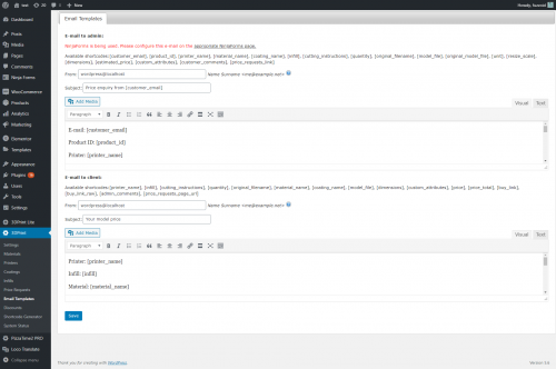 Backend - email templates